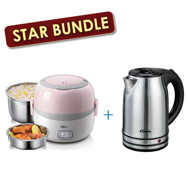 [Bundle Exclusive]  Bear Lunch box Mini Lunch Box 1.3L + 1.7L Stainless Steel Cordless Jug (DFH-B13E5+PPJ2003)