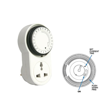 Smart 24 Hours Electrical Wall Mechanical Indoor Switch Outlet Timer (FDD50-E1), Timer & Door Chime, PowerPac, PowerPacSG- PowerPacSG