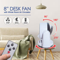 "iFan 8"" Desk Fan, Desk, table fan with Whole Room Air Circulator (IF7405), Fan, iFan, PowerPacSG- PowerPacSG"