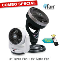 "iFan Combo Special -  8"" Desk Air Circulator Fan + 10"" Power Fan  ( IF7405 + IF7656)"