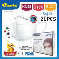 READY STOCKS >> 20 PCS KN95 Face Mask Anti Dust Bacterial N95 Mask PM2.5 Dustproof Protective 95% Filtration KN95 Mouth Muffle Cover Protective Mack (NB950) - PowerPacSG