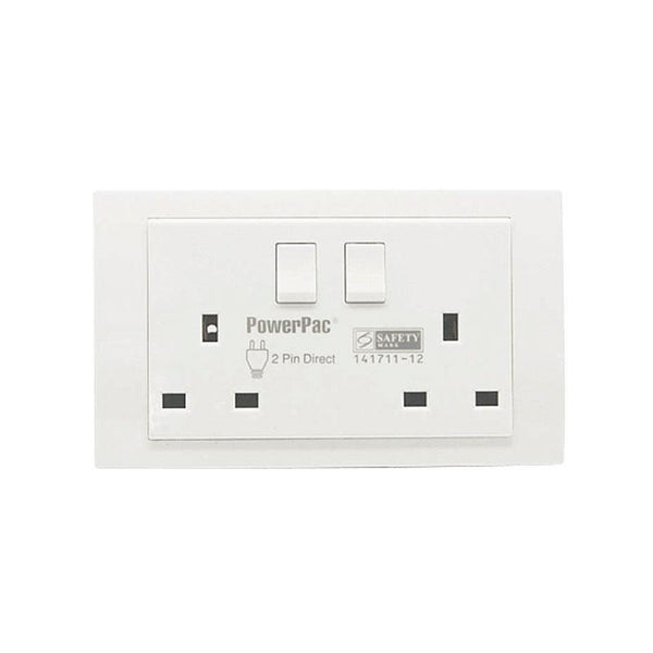 13A 2Gang Switched Socket / Wall Socket with 2 Year Local Warranty (PP1012) - PowerPacSG