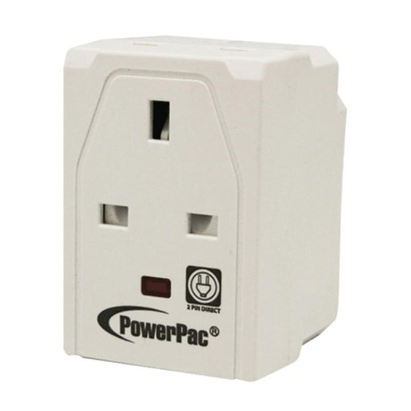 3-Way Adapter with 2-Pin Direct & Neon Indicator (PP144N), 13 Amp, PowerPac, PowerPacSG- PowerPacSG