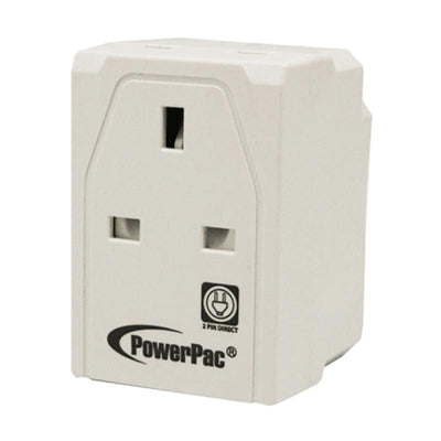 3-Way Adapter with 2-Pin Direct (PP144), 13 Amp, PowerPac, PowerPacSG- PowerPacSG