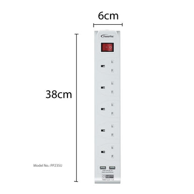 5 Way Extension Cord 3M with 2x USB charger. (PP235U), Extension Socket, PowerPac, PowerPacSG- PowerPacSG