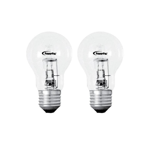 2 Pieces x PowerPac 42W 2700k E27 Halogen Bulbs - Warm White (PP3742), , PowerPac, PowerPacSG- PowerPacSG