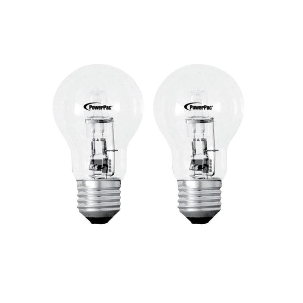 2 Pieces x PowerPac 52W 2700k E27 Halogen Bulbs - Warm White (PP3752) - PowerPacSG