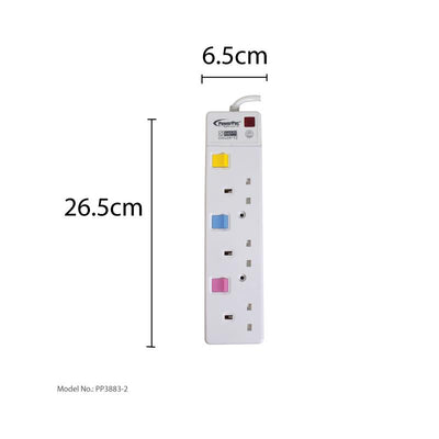 3 Way Safety Extension Socket 2 Meter with Individual Switch (PP3883-2), Extension Socket, PowerPac, PowerPacSG- PowerPacSG