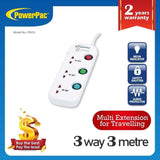 3 Way 3 Metre Multi extension socket with surge protector (PP633) - PowerPacSG
