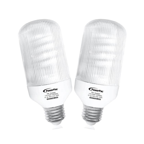 2 Pieces x PowerPac 9W E27 Vertex LED Bulb Day Light (PP6409)