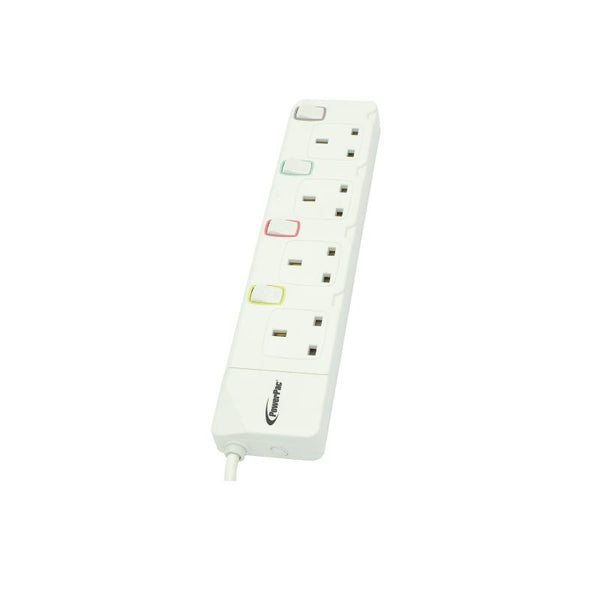 4 Way 3 metre Extension Cord with 2-pin direct with Individual Switch. (PP7884-3) - PowerPacSG