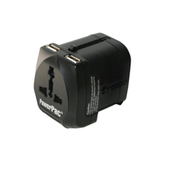 Multi Travel Adapter With 2 USB Charger (PP7977) - PowerPacSG