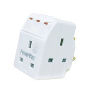 3 Way Adapter with Switch & 2 pin direct(PP8733), 13 Amp, PowerPac, PowerPacSG- PowerPacSG