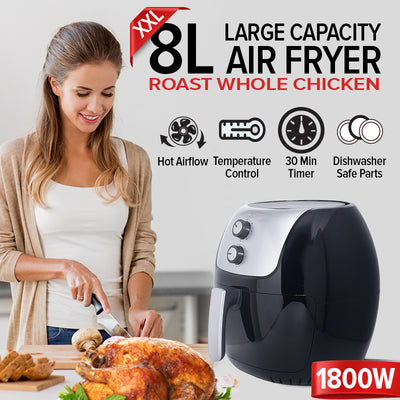 Air Fryer XXL 8L with Hot Air Flow System (PPAF676) - PowerPacSG