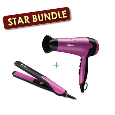 [Bundle Exclusive] Hair Dryer With Cool Air 2000W + Electric Hair Straightener with Quick heat up and neon indicator (PPH9075+PPH5090)