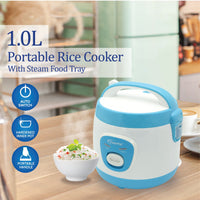 1L Portable Rice Cooker with Steam Food Tray (PPRC201), Rice Cooker, PowerPac, PowerPacSG- PowerPacSG