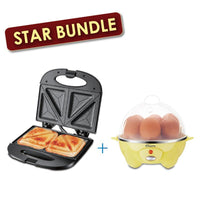 [Bundle Exclusive] Double-sided Heating Electric Sandwich maker + Electric Egg Steamer (PPT353+PPE701)