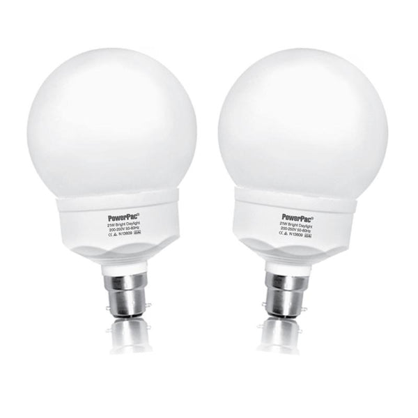 2 Pieces x PowerPac 22W / B22 Energy Saving Bulb Daylight (SGB25BC)