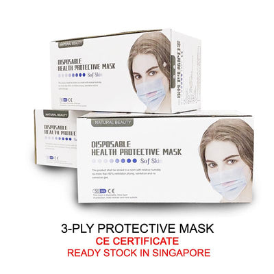 50 Pcs 3-Ply Health CE Certified Medical Mask (PPM001) - PowerPacSG
