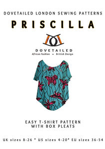 PRISCILLA TEE African wax print sewing pattern Sizes 8 - 26 with box pleats at the neckline finished with bias binding