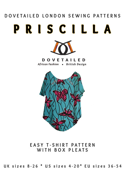 PRISCILLA TEE Sizes 8 - 26 with box pleats at the neckline finished with bias binding