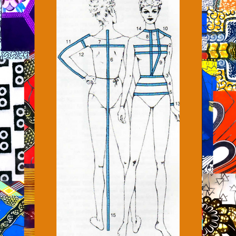 Image of front and back of female form with blue lines and numbers to indicate the important body measurements.