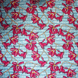 'AFRICAN LILIES (pink)' African Wax Block Print Fabric Sold by the yard 100% cotton by Dovetailed