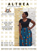 ALTHEA A-LINE SKIRT Sizes 8 - 26 with elasticated waistband and in seam pockets - PAPER SEWING PATTERN by Dovetailed