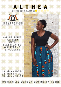 ALTHEA A-LINE - SKIRT Sizes 8 - 26 with elasticated waistband and pockets - DIGITAL SEWING PATTERN by Dovetailed