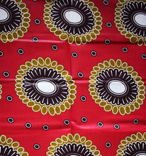 DUO OF BROWN ON CRIMSON African Print Wax Block Fabric Sold by the yard 100% cotton Light brown dark brown crimson Ankara by Dovetailed
