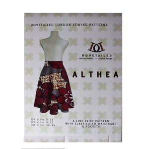 *SECOND* ALTHEA A-LINE SKIRT Sizes 8 - 18 with elasticated waistband and in seam pockets - PAPER SEWING PATTERN by Dovetailed