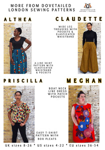 PRISCILLA TOP Sizes 8 - 26 - dipped curved hem - neckline pleats - DIGITAL SEWING PATTERN - Dovetailed London