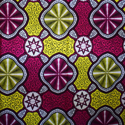 BRIGHT LIGHTS BEAMING Julius Holland African Print Wax Block Fabric Sold by the yard 100% cotton Pink White Yellow Ankara fabric African Craft & Supplies by Dovetailed