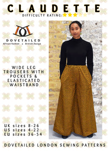 Sewing pattern cover featuring dual heritage female wearing African wax print trousers and a black top. She has her hands in her trousers.