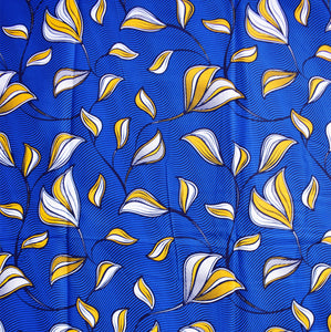 'CARRIED BY THE BIRDS' (on blue) African Wax Block Print Fabric Sold by the yard 100% cotton by Dovetailed