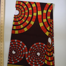 CHEQUERED EFFECT ON BROWN African Print Wax Block Fabric Sold by the yard 100% cotton Red white dark brown Ankara by Dovetailed