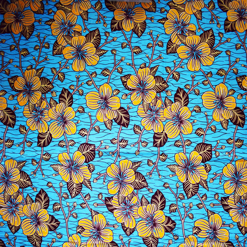 'DANCE IN THE SUN (on blue)' African Wax Block Print Fabric Sold by the yard 100% cotton by Dovetailed