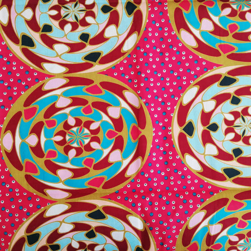 DISCO African Print Wax Block Fabric Sold by the yard 100% cotton Pink Teal Sky Blue Ankara by Dovetailed