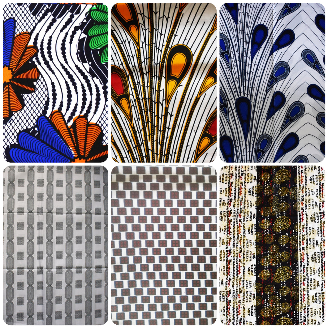 Half Yard Bundle White/Black Coloured Bundle Six Half Yard African Print Wax Fabric 100% cotton Quilting Ankara Patterned by Dovetailed