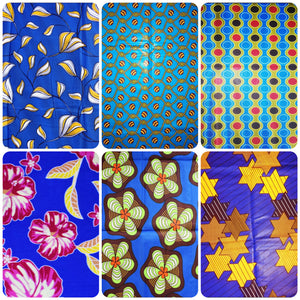 6 Blue coloured African wax print fat quarters