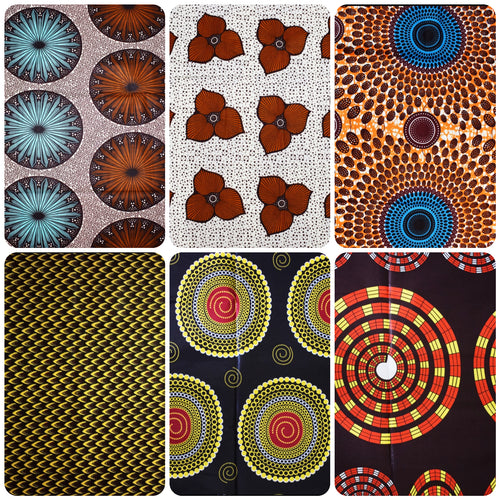 Fat Quarter Bundle Brown Coloured Bundle Six Fat Quarters African Print Wax Fabric 100% cotton Quilting Ankara Patterned by Dovetailed