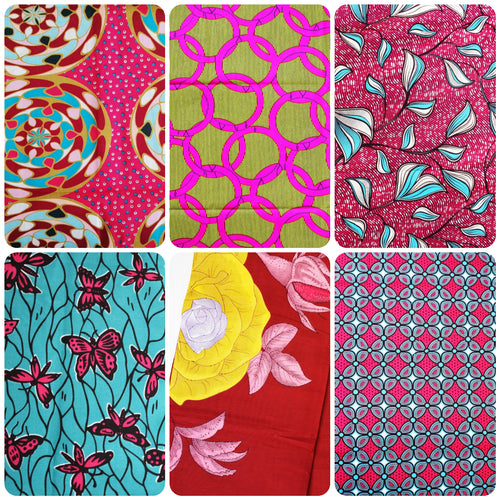Fat Quarter Bundle Pink Coloured Bundle Six Fat Quarters African Print Wax Fabric 100% cotton Quilting Ankara Patterned by Dovetailed