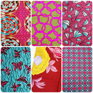 6 Pink coloured African wax print fat quarters