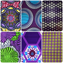 6 Purple coloured African wax print fat quarters