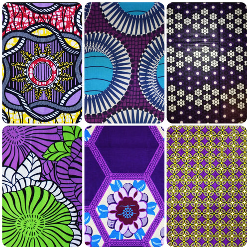 Fat Quarter Bundle Purple Coloured Bundle Six Fat Quarters African Print Wax Fabric 100% cotton Quilting Ankara Patterned by Dovetailed