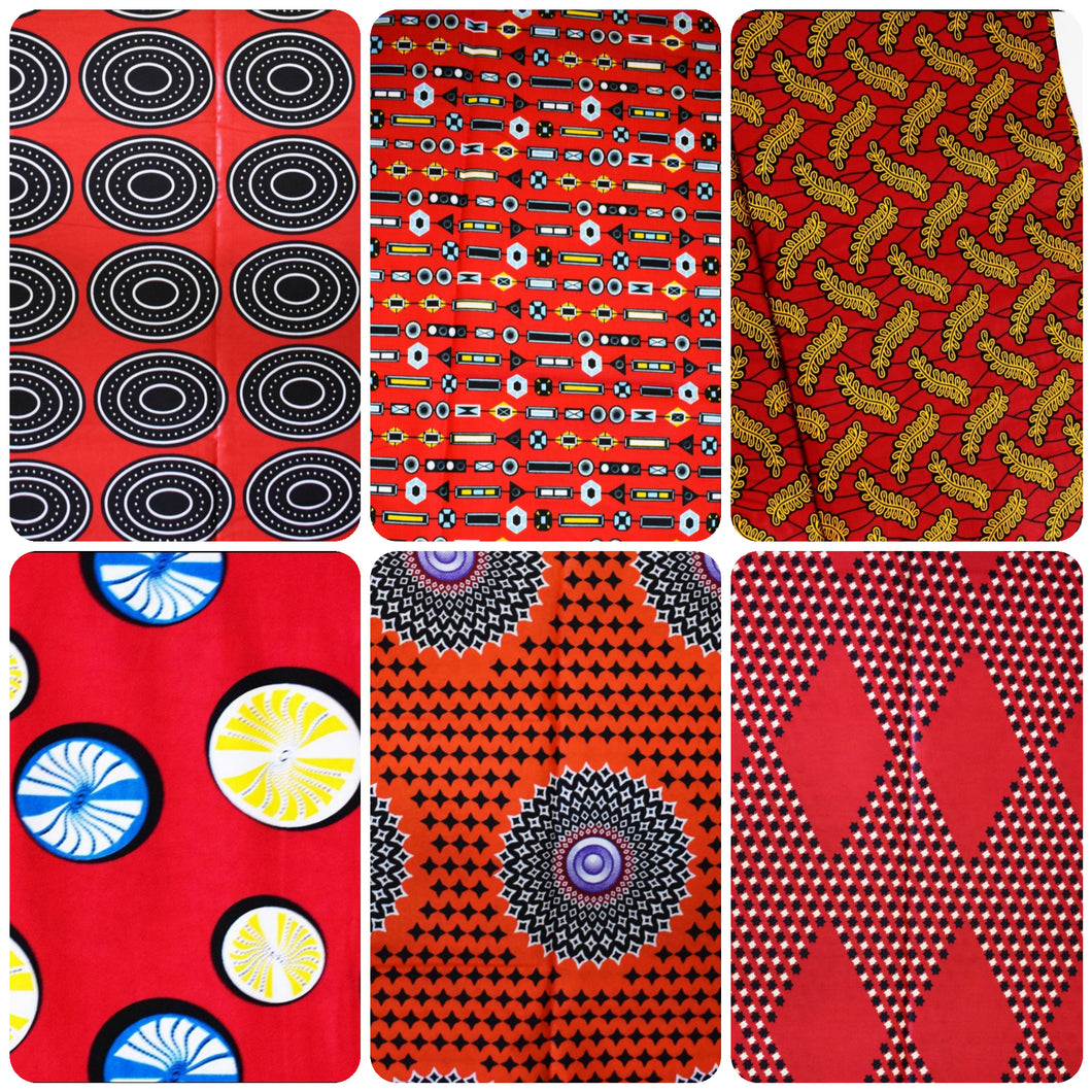 Half Yard Bundle Red Coloured Bundle Six Half Yard African Print Wax Fabric 100% cotton Quilting Ankara Patterned by Dovetailed