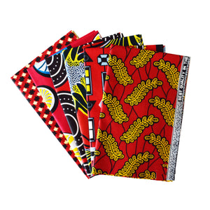 Fat Quarter Bundle Red Coloured Bundle Six Fat Quarters African Print Wax Fabric 100% cotton Quilting Ankara Patterned by Dovetailed