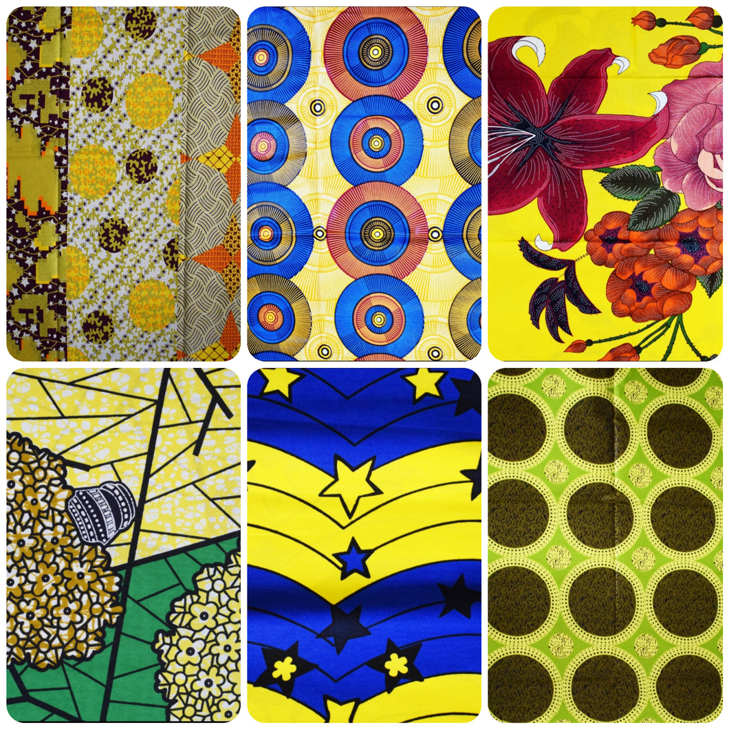 Fat Quarter Bundle Yellow Coloured Bundle Six Fat Quarters African Print Wax Fabric 100% cotton Quilting Ankara Patterned by Dovetailed