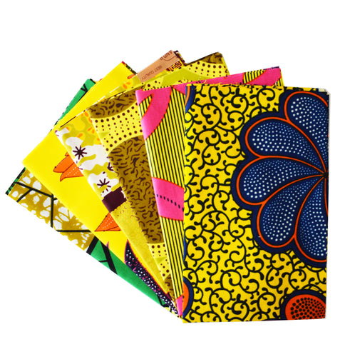 6 yellow coloured African wax print fat quarters