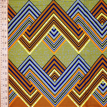 'FASHIONABLY LATE (on orange)' African Wax Block Print Fabric Sold by the yard 100% cotton by Dovetailed